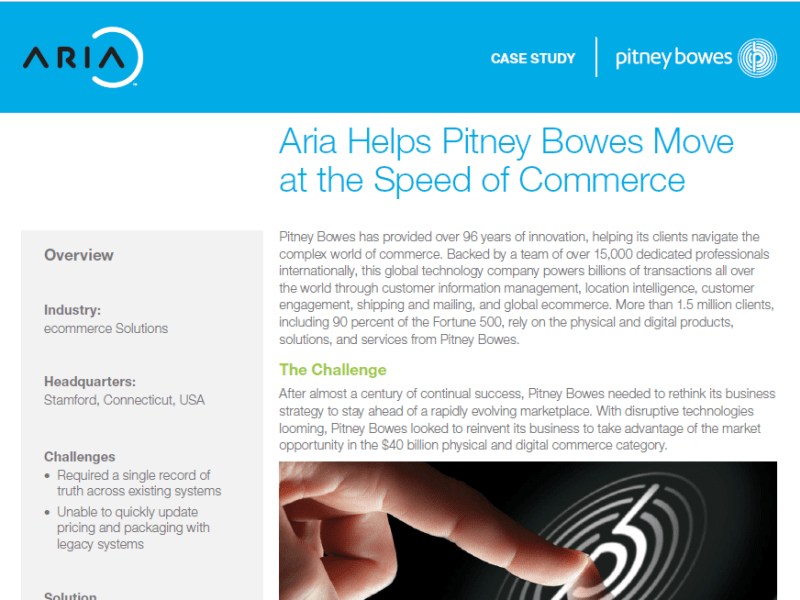 Pitney Bowes Case Study - Aria Systems