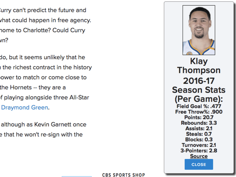 NBA Stats - Google Chrome Extension