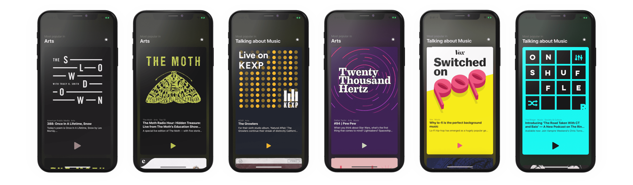 A row of iPhones showing a podcast app with varying podcasts selected