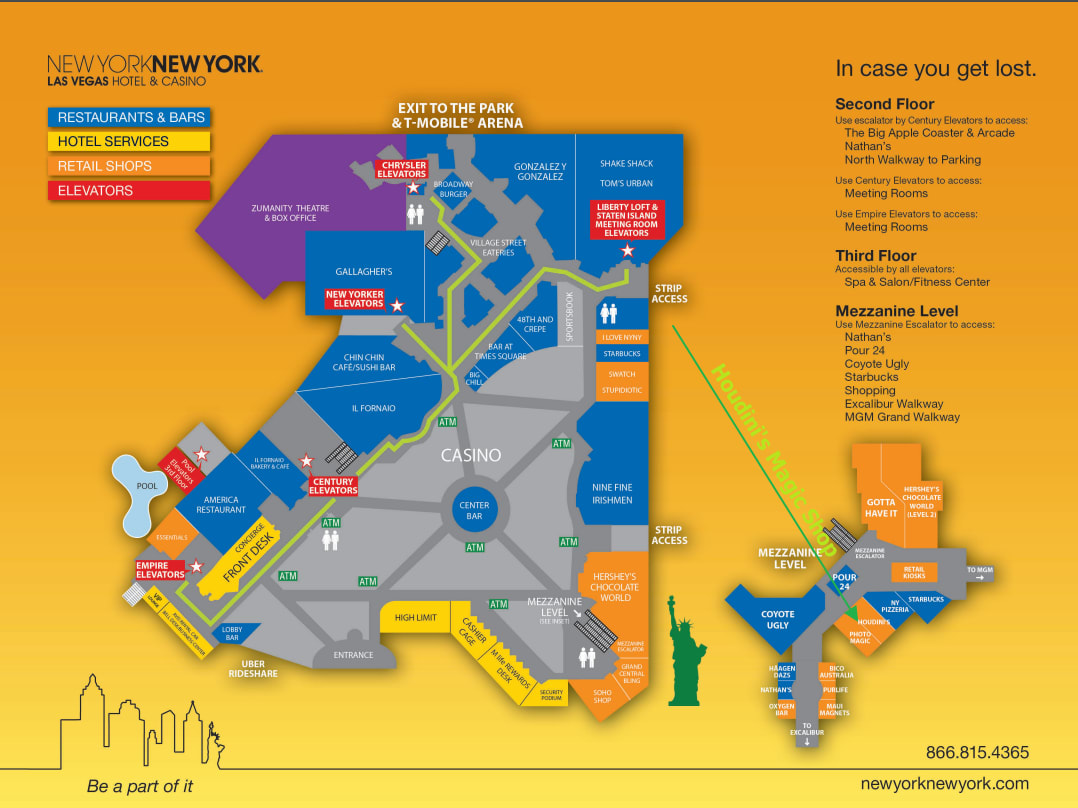 Map Of New York New York Casino.New York New York Hotel Casino Houdini Magic