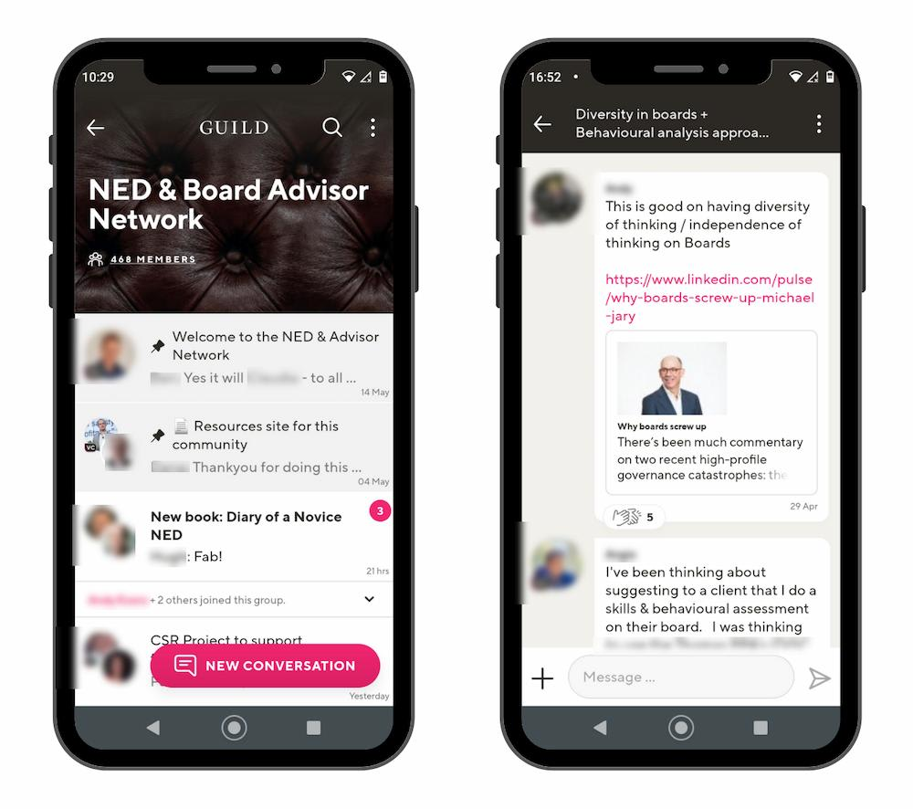 Guild's clean, mobile-first UX is purpose-built for professional communities
