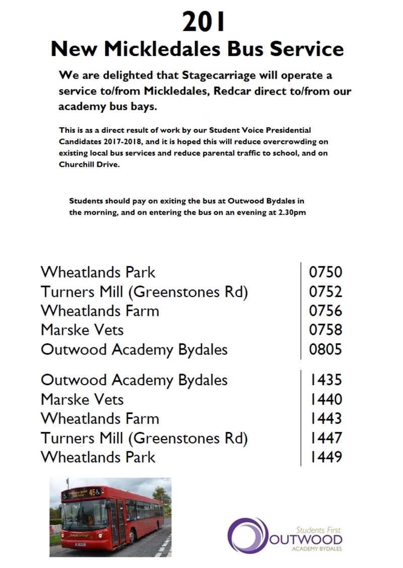 Bus Timetables Outwood Academy Bydales