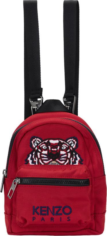 6c2e81c131 Kenzo  Mini Tiger Canvas Backpacks - Medium Red