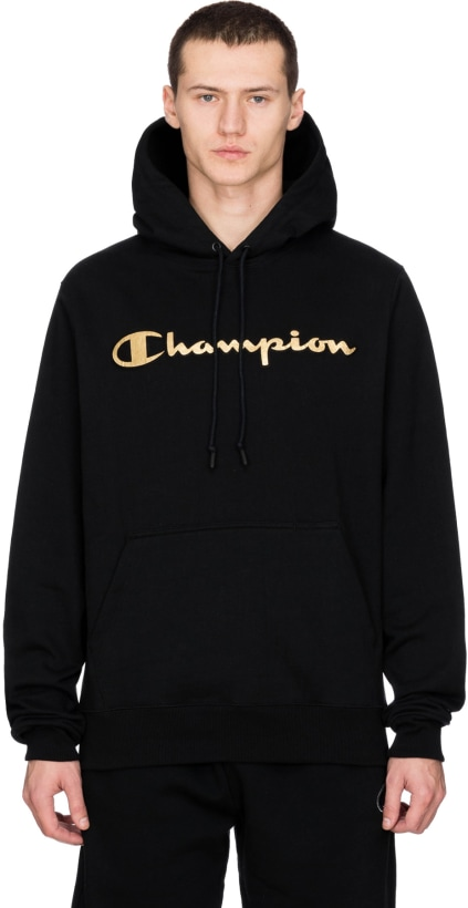 9b6eb13f9eda Champion  Super Fleece 2.0 Metallic Gold Logo Pullover Hoodie - Black