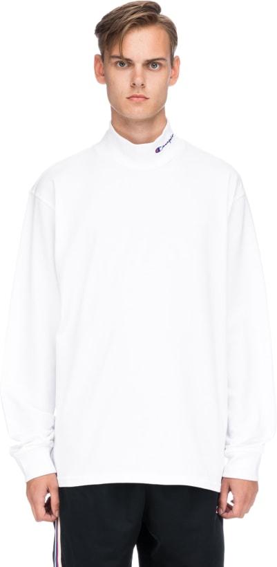 9642365885bf Champion  Reverse Weave Heavyweight Mock Neck T-Shirt - White ...