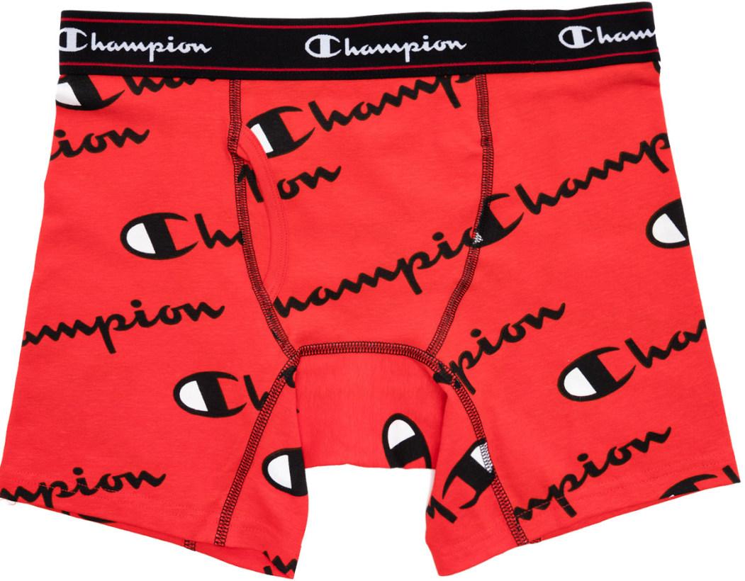 6d76805e03e1 Champion: Allover Script Logo Boxer Briefs - Red | influenceu