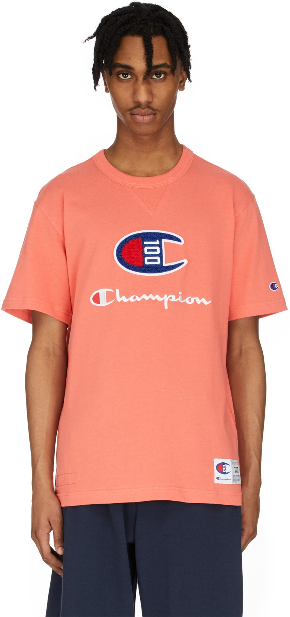 6650215ad Champion: C100 Chenille Logo T-Shirt - Groovy Papaya | influenceu