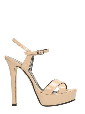 Marc Ellis Plateau Pink Patent Leather Sandals