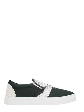 Marcelo Burlon Snar Wing Slip On Black Cotton Sneakers