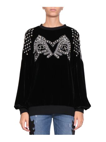 WANDERING Velvet Embroidered Sweatshirt