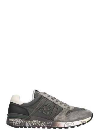 Premiata Lander In Grey Suede And Fabric Sneakers