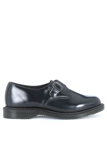 Dr Martens Kensington Shoes In Black Brushed Leather
