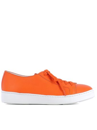 Orange Leather Sneakers