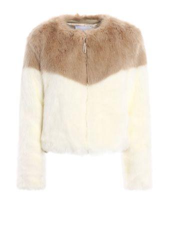 Colour Block Faux Fur Crop Jacket