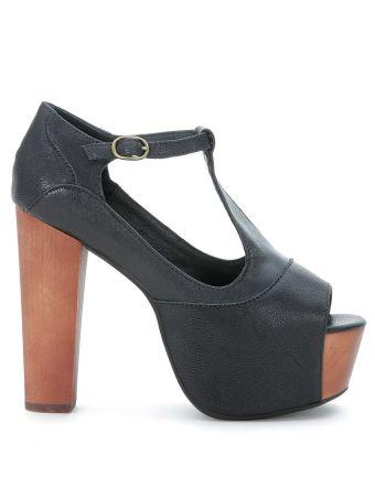 Jeffrey Campbell Foxy Black Leather Sandal