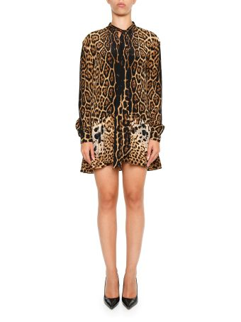 Leopard Print Crepe Dress