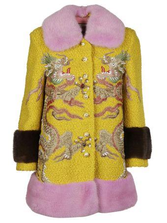 Gucci Embroidered Fur Coat