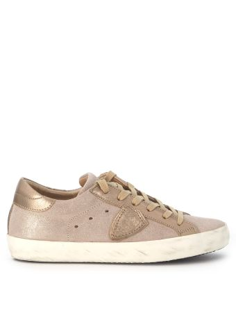 Sneakers Philippe Model Paris In Champagne Laminated Suede