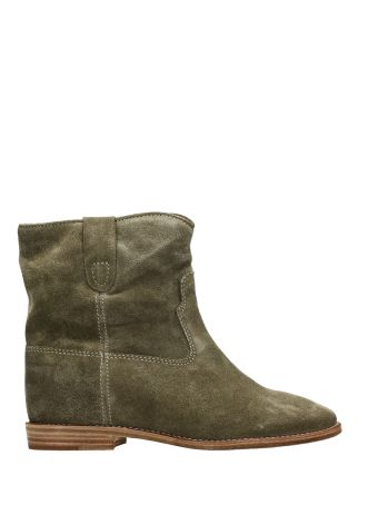 Isabel Marant Crisi Wedge Khaki Suede Ankle Boots