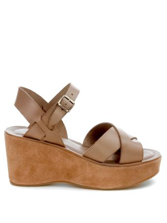 Kork Ease Ava Wedged Sandals In Brown Leather