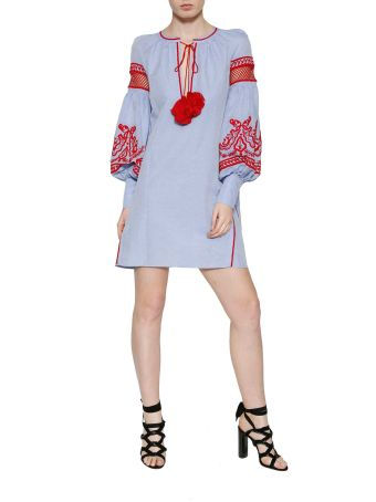 Wandering Embroidered Cotton Popeline Dress