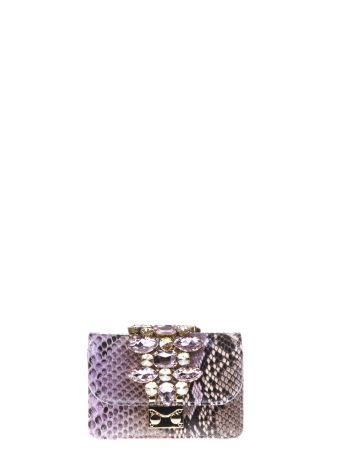 Gedebe Cliky Embellished Python Clutch