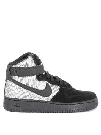 Sneaker Nike Air Force 1 In Pelle Vegan Nera E Laminato Argento