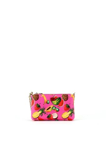 Fuxia Tropical Print Micro Bag