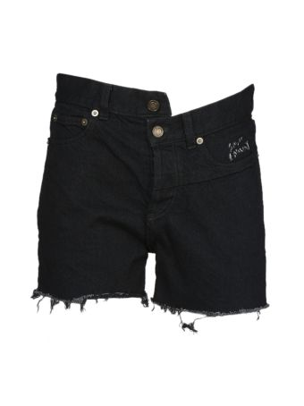 Saint Laurent Asymmetric Denim Shorts