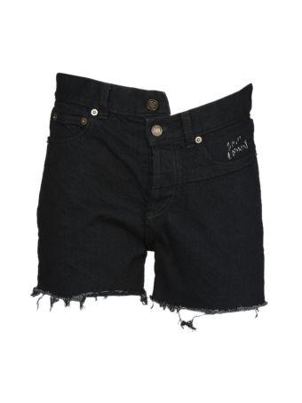 Saint Laurent Asymmetric Denim Shorts