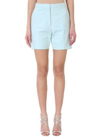 Rochas Light Mint Green Cotton-blend High-waisted Tailored Shorts