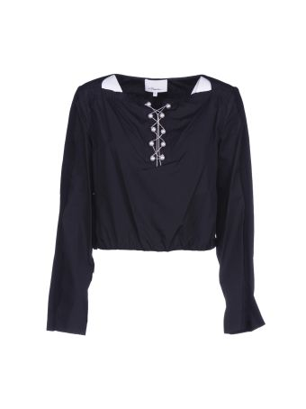 3.1 Phillip Lim Cropped Pearl Detail Top