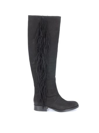 Sam Edelman Josephine Black Leather Boots With Fringes