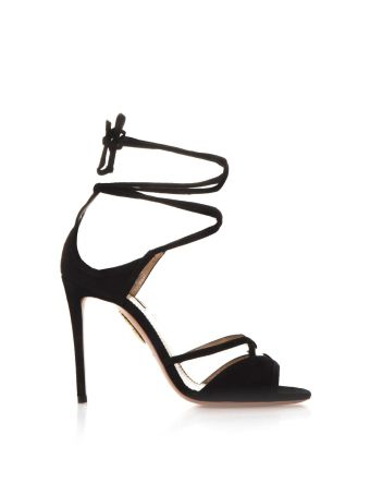 Aquazzura Nathalie Black Suede Sandals