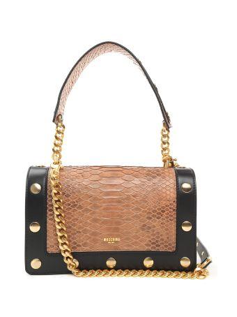 Moschino Studded Leather And Python Shoulder Bag