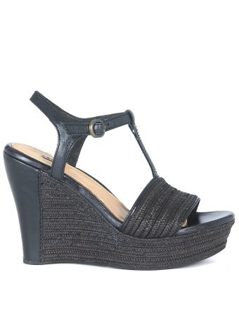 Ugg Fitchie Wedge Sandal In Black Leather And Rafia