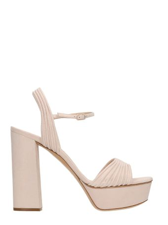 Casadei Pink Suede And Calf Plateau Sandals