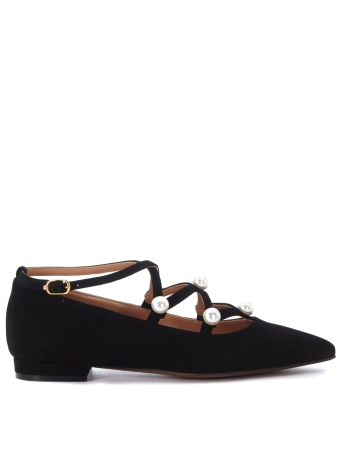 L'autre Chose Black Suede Flat Shoes With Pearls