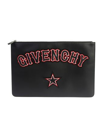 Large Logo Patches Leather Pouch