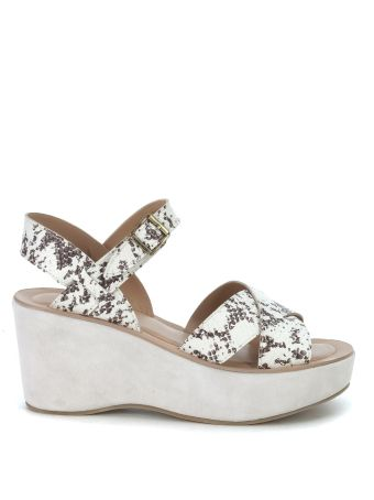 Kork Ease Ava Wedge Ivory And Brown Sandals In Python Printed Leather