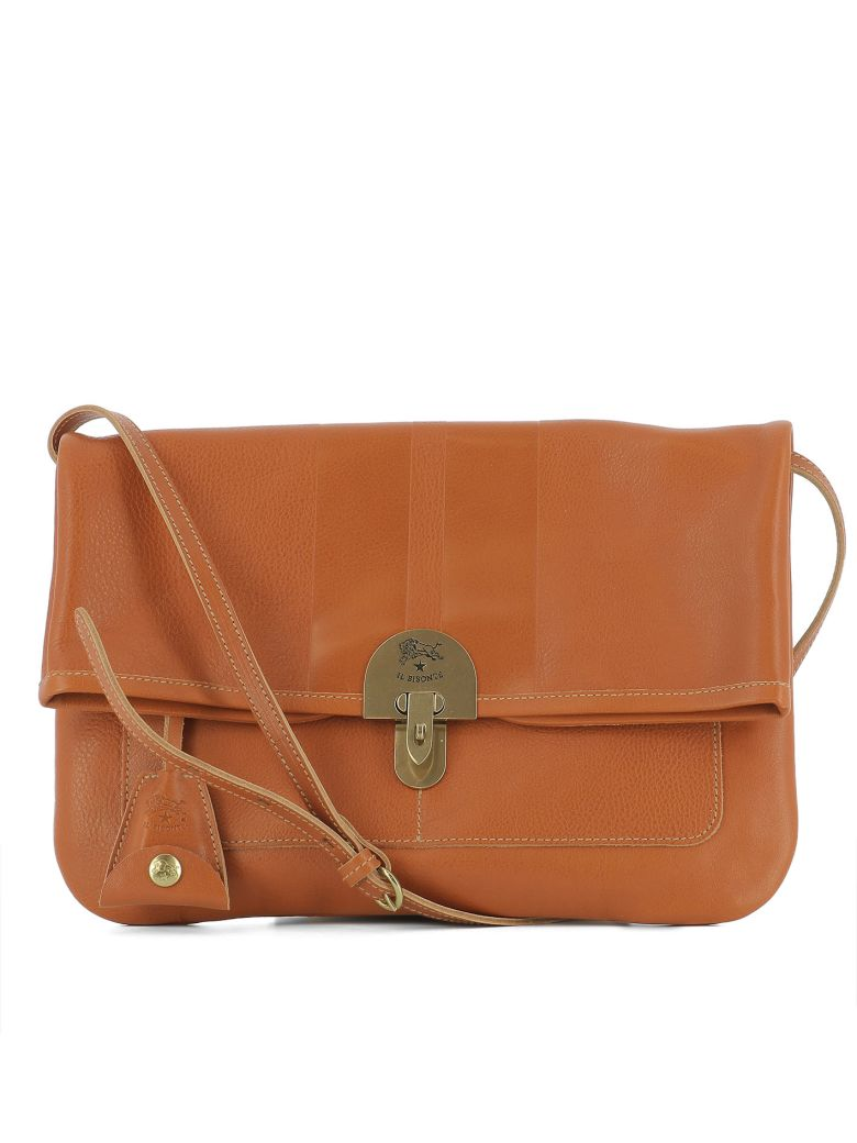 Il Bisonte Orange Leather Shoulder Bag