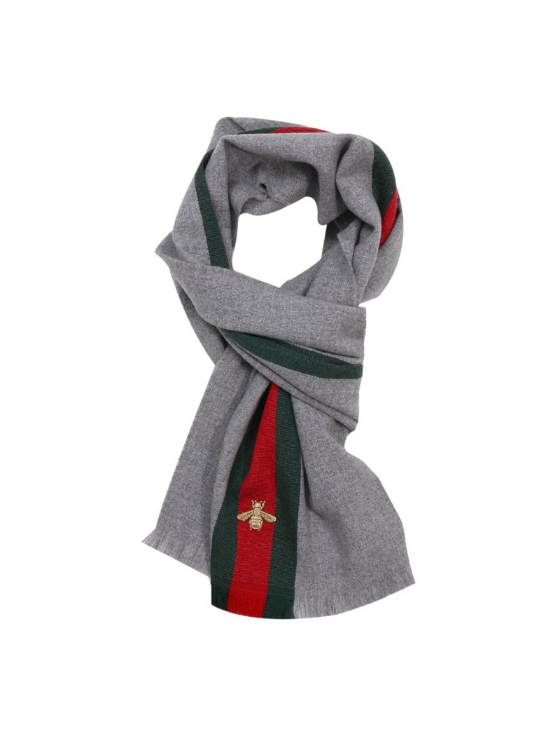 Scarf Scarf 37 X 180 Cm In Cashmere Wool With Web And Bee Pattern, Grey Wool Cashmere