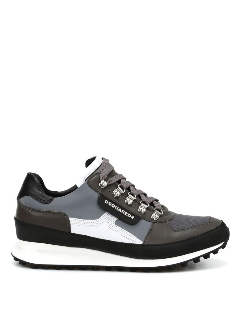 DSQUARED2 Dean Goes Hiking Leather Shoes in Grey/White
