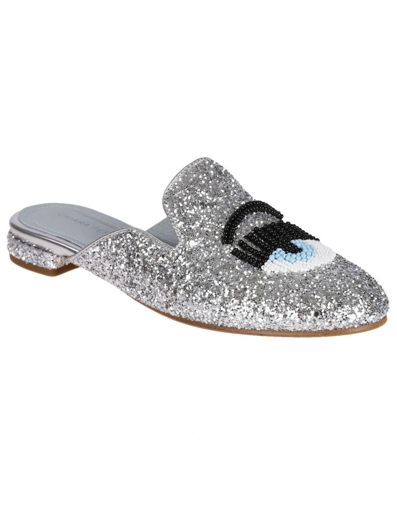 CHIARA FERRAGNI 10Mm Beaded Flirting Eye Glitter Mules, Silver
