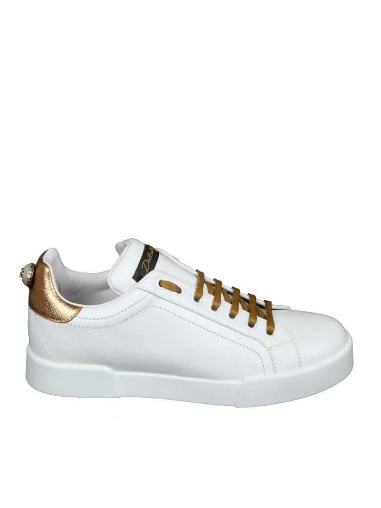 dolce gabbana dolce gabbana white leather sneakers white gold women 39 s sneakers italist. Black Bedroom Furniture Sets. Home Design Ideas