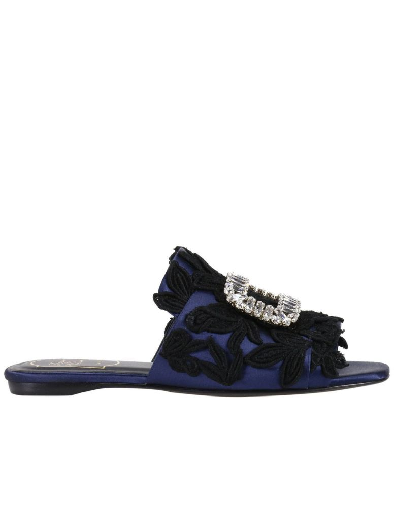 ROGER VIVIER Flat Sandals Slipper Rabat In Silk Satin With Guipure Pattern And New Crystal Buckle in Black/Blue