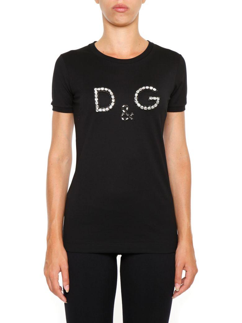 Dolce gabbana logo t shirt nero nero women 39 s short for Dolce gabbana t shirt women