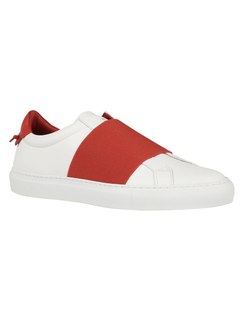Givenchy White Amp Red Urban Elastic Knots Sneakers In White
