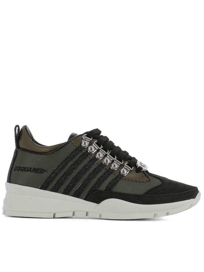Dsquared2 40Mm 251 Glitter   Canvas Sneakers In Green  ac5e0845942a