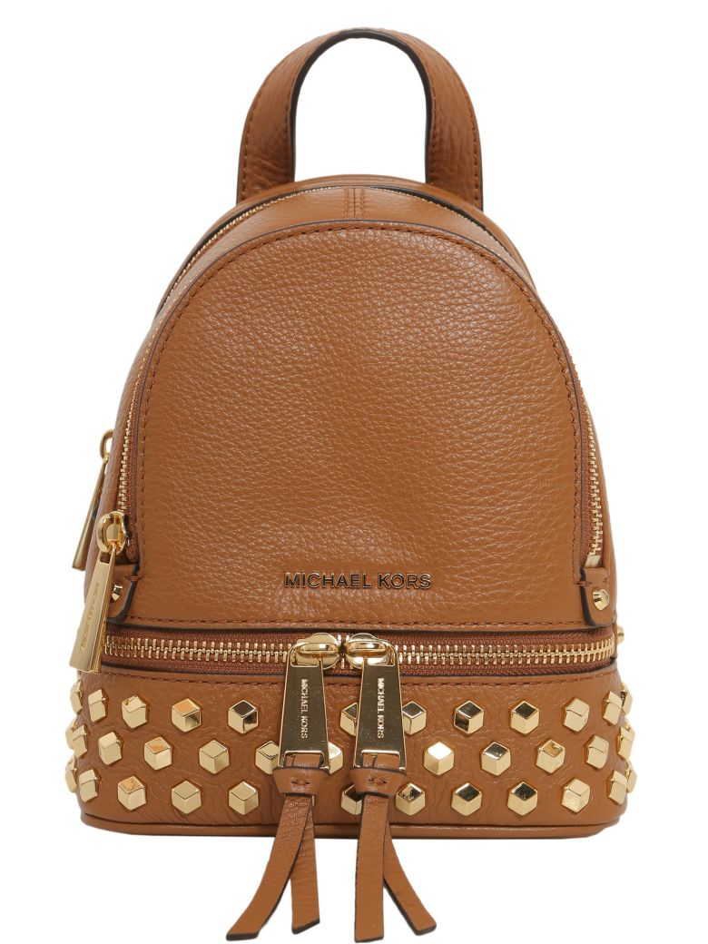 8379b59573f9 Michael Michael Kors Rhea Mini Studded Backpack In Cuoio ...
